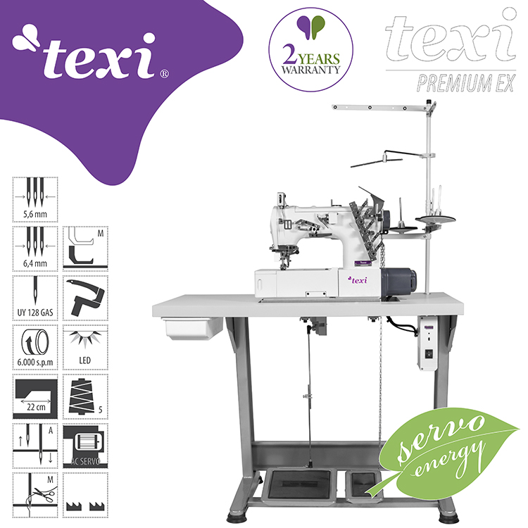 3-needle flat bed coverstitch (interlock) machine with built-in AC Servo motor and needles positioning - complete sewing machine with 2 years warranty