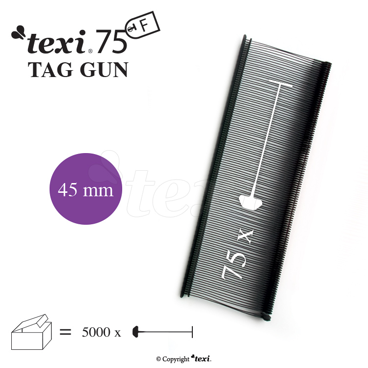 Tagging pins 45 mm Fine, Black, 1 single box = 5.000 pcs