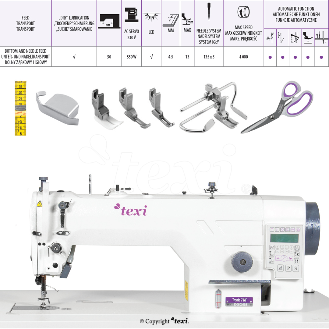 Automatic, mechatronic lockstitch machine, needle feed, closed lubrication circuit - complete machine - 2 years warranty