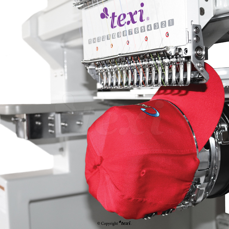 Industrial, six-head, twelve-needle embroidery machine with an enlarged field of work