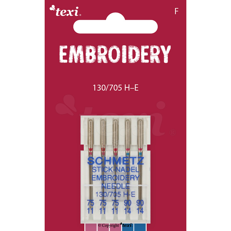 Embroidery needles for household machines, 5 pcs, size 75x3, 90x2