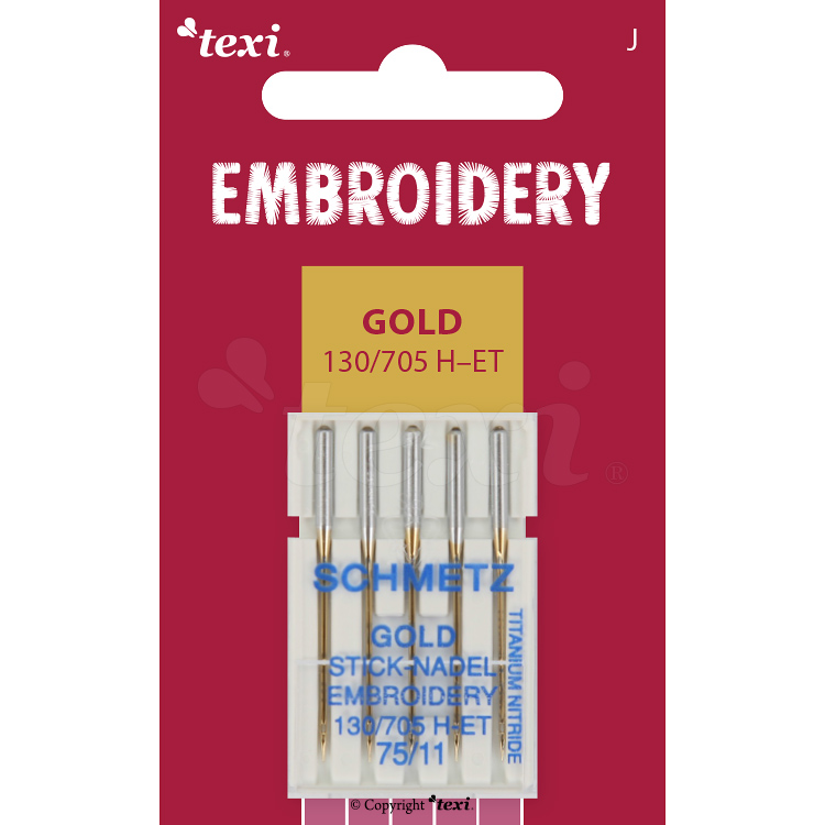 Embroidery gold needles for household machines, 5 pcs, size 75