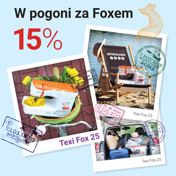 A deposit of 15% on order of TEXI FOX 25 - a multi-functional sewing machine